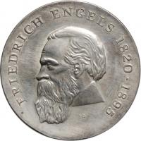 """ГДР 20 марок 1970 г., UNC, """"150 лет со дня рождения Фридриха Энгельса"""""""