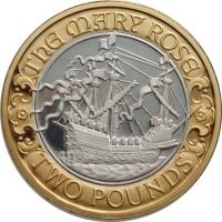 "Великобритания 2 фунта 2011 г., PROOF, ""500 лет со дня спуска на воду Мэри Роуз"""