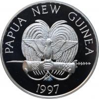 """Папуа - Новая Гвинея 5 кина 1997 г., PROOF, """"Вымирающие виды - Ленточный сладкогуб"""""""
