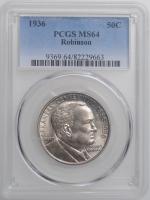 "США 50 центов 1936 г., PCGS MS64, ""100 лет штату Арканзас, Джозеф Тейлор Робинсон"""
