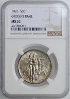 """США 50 центов 1926 г., NGC MS66, """"Мемориал Орегонская Тропа"""""""
