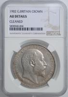 """Великобритания 1 крона 1902 г., NGC AU Details, """"Король Эдуард VII (1902 - 1910)"""""""
