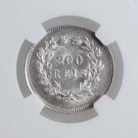 """Португалия 200 рейсов 1891 г., NGC MS63, """"Король Карлуш I (1889 - 1908)"""""""