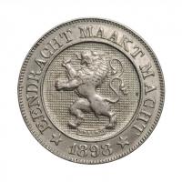 """Бельгия 10 сантимов 1898 г. DER,  UNC, """"Король Леопольд II (1865 - 1909)"""""""