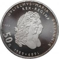 """Нидерланды 50 гульденов 1988 г., PROOF, """"300 лет правлению Короля Вильгельма III и Королевы Марии II"""""""