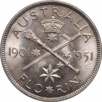 "Австралия 1 флорин 1951 г., BU, ""50 лет Федерации"""