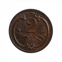 "Австрия 2 геллера 1904 г., BU, ""Император Франц Иосиф (1848 - 1916)"""
