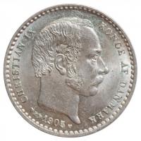 """Дания 25 эре 1905 г. VBP, BU, """"Король Кристиан IX (1873 - 1906)"""""""