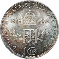 """Австрия 1 крона 1908 г., BU, """"60 лет правлению"""" ПАТИНА"""