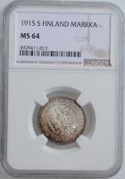 "Финляндия 1 марка 1915 г. S, NGC MS64, ""Император Николай II (1895 - 1917)"""