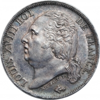 "Франция 1 франк 1816 г. A, BU, ""Король Людовик XVIII (1815 - 1824)"""