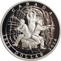 """Канада 1 доллар 2014 г., PROOF, """"75 лет объявлению Второй Мировой войны"""""""