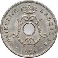 """Бельгия 10 сантимов 1904 г., BU BELGIË, """"Король Леопольд II (1865 - 1909)"""""""