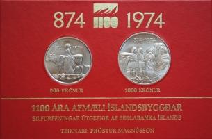 """Исландия 500, 1000 крон 1974 г., BU, """"1100 лет первым поселенцам"""""""
