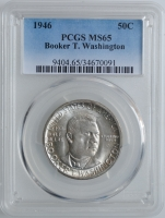 """США 50 центов 1946 г., PCGS MS65, """"Букер Талиафер Вашингтон"""""""