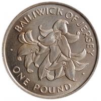 """Джерси 1 фунт 1972 г., UNC, """"25 лет свадьбе Королевы Елизаветы II и Принца Филиппа"""""""