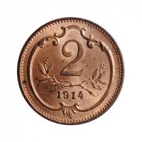 "Австрия 2 геллера 1914 г., BU, ""Император Франц Иосиф (1848 - 1916)"""