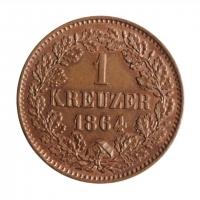 """Баден 1 крейцер 1864, UNC, """"Герцог Фридрих I (1856 - 1907)"""""""