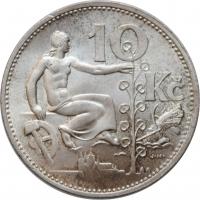 """Чехословакия 10 крон 1930 г., BU, """"Первая Республика (1919 - 1938)"""""""