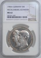 "Мекленбург-Шверин 5 марок 1904 г., NGC MS62, ""Свадьба Герцога Фридриха Франца IV"""