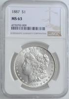 "США 1 доллар 1887 г., NGC MS63, ""Доллар Моргана"""