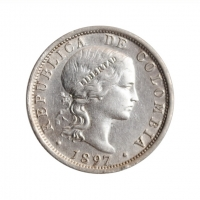 "Колумбия 20 сентаво 1897 г., AU, ""Республика Колумбия (1886 - 1914)"""
