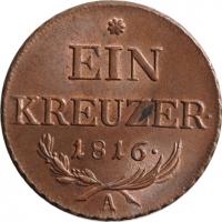 """Австрия 1 крейцер 1816 г. A, BU, """"Император Франц ІІ (1792 - 1835)"""""""