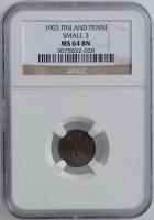 """Финляндия 1 пенни 1903 г., NGC MS64, """"Император Николай II (1895 - 1917)"""" SMALL 3"""