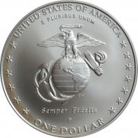 """США 1 доллар 2005 г., BU, """"230 лет Морской пехоте"""""""