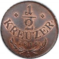 "Австрия 1/2 крейцера 1816 г. A, UNC, ""Император Франц II (1806 - 1835)"""