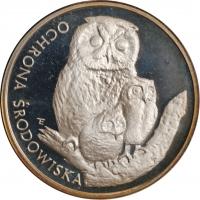 """Польша 500 злотых 1986 г., PROOF, """"Охрана окружающей среды - Сова"""""""