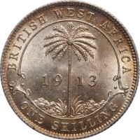 """Британская Западная Африка 1 шиллинг 1913 г., BU, """"Колония Великобритании (1907 - 1966)"""""""