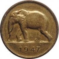 """Бельгийское Конго 2 франка 1947 г., AU, """"Колония Бельгии (1909 - 1949)"""""""
