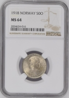 """Норвегия 50 эре 1918 г., NGC MS64, """"Король Хокон VII (1906 - 1957)"""""""