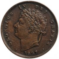 "Великобритания 1/3 фартинга 1827 г., XF, ""Король Георг IV (1820 - 1830)"""
