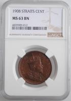 "Стрейтс Сетлментс 1 цент 1908 г., NGC MS63 BN, ""Король Эдуард VII (1902 - 1910)"""