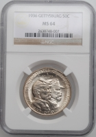 "США 50 центов 1936 г., NGC MS64, ""75 лет Битве при Геттисберге"""