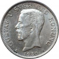 """Швеция 1 крона 1930 г. G, UNC, """"Король Густав V (1908 - 1950)"""""""