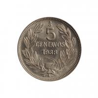 "Чили 5 сентаво 1938 г. So, BU, ""Республика Чили (1899 - 1959)"""