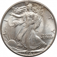 "США 50 центов 1942 г., BU, ""Walking Liberty Half Dollar"""