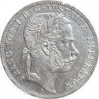 """Австрия 1 флорин 1870 г., AU, """"Император Франц Иосиф I (1848 - 1916)"""""""