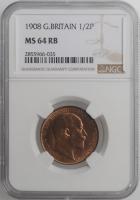 """Великобритания 1/2 пенни 1908 г., NGC MS64 RB, """"Король Эдуард VII (1902 - 1910)"""""""