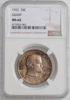 """США 50 центов 1922 г., NGC MS64, """"100 лет со дня рождения Улисса Гранта"""""""