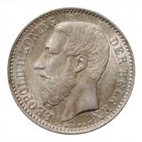 """Бельгия 1 франк 1887 г. DER, UNC, """"Король Леопольд II (1865 - 1909)"""""""