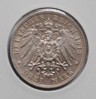Саксония 3 марки 1913 г., XF, 'Король Фридрих Август III (1904-1918)'