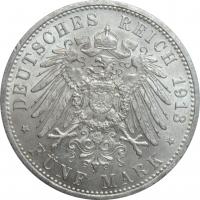 "Пруссия 5 марок 1913 г., UNC, ""Король Вильгельм II (1888 - 1918)"""