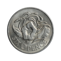 "Замбия 6 пенсов 1966 г., UNC, ""Президент Кеннет Каунда (1964 - 1991)"""