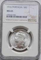 """Португалия 50 сентаво 1916 г., NGC MS65, """"Португальская Республика (1911 - 1969)"""""""