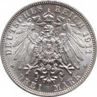 """Саксония 3 марки 1911 г., BU, """"Фридрих Август III (1904 - 1918)"""""""