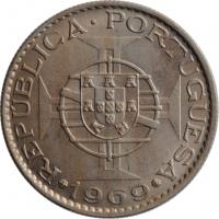 """Ангола 10 эскудо 1969 г., AU, """"Португальская колония (1921 - 1974)"""""""